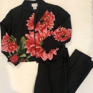 Silk Club Set Floral Jacket & Black Pants